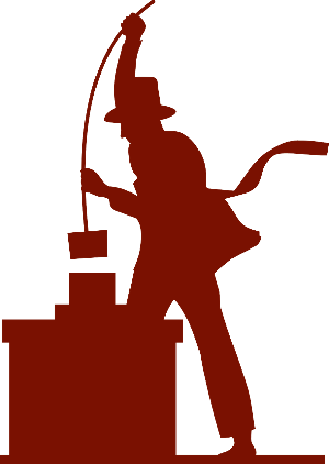 Chimney sweep cleaning a chimney logo